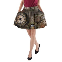 Steampunk, Wonderful Clockwork With Gears A-line Pocket Skirt by FantasyWorld7