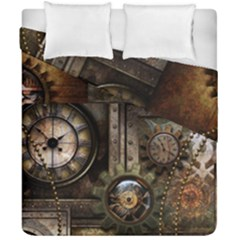 Steampunk, Wonderful Clockwork With Gears Duvet Cover Double Side (california King Size) by FantasyWorld7
