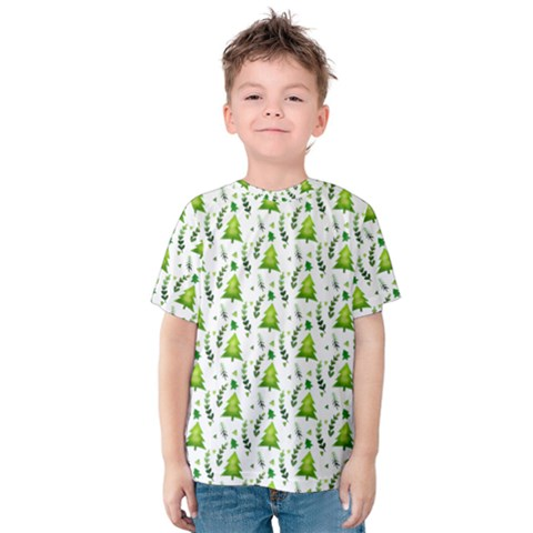 Watercolor Christmas Tree Kids  Cotton Tee by patternstudio