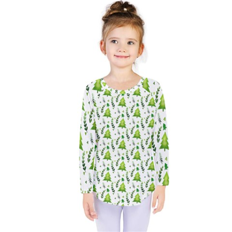 Watercolor Christmas Tree Kids  Long Sleeve Tee by patternstudio