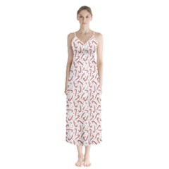 Candy Cane Button Up Chiffon Maxi Dress by patternstudio