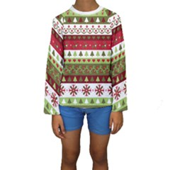 Christmas Spirit Pattern Kids  Long Sleeve Swimwear by patternstudio
