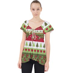 Christmas Spirit Pattern Lace Front Dolly Top by patternstudio