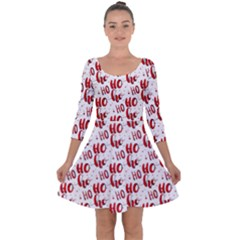 Ho Ho Ho Santaclaus Christmas Cheer Quarter Sleeve Skater Dress