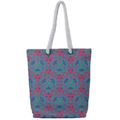 Bereket Pink Blue Full Print Rope Handle Bag (small) by Cveti