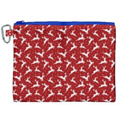 Red Reindeers Canvas Cosmetic Bag (xxl) by patternstudio