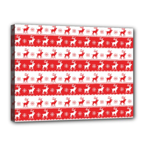 Knitted Red White Reindeers Canvas 16  X 12  by patternstudio