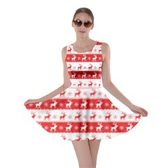 Knitted Red White Reindeers Skater Dress by patternstudio
