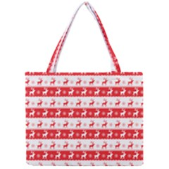 Knitted Red White Reindeers Mini Tote Bag by patternstudio