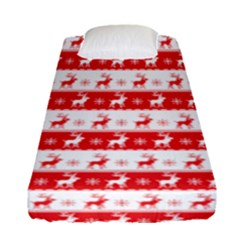 Knitted Red White Reindeers Fitted Sheet (single Size) by patternstudio
