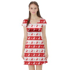 Knitted Red White Reindeers Short Sleeve Skater Dress by patternstudio