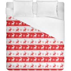 Knitted Red White Reindeers Duvet Cover (california King Size)