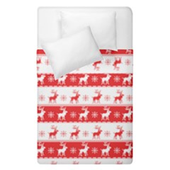 Knitted Red White Reindeers Duvet Cover Double Side (single Size) by patternstudio