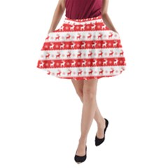 Knitted Red White Reindeers A Line Pocket Skirt by patternstudio