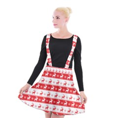Knitted Red White Reindeers Suspender Skater Skirt by patternstudio