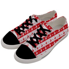 Knitted Red White Reindeers Men s Low Top Canvas Sneakers by patternstudio