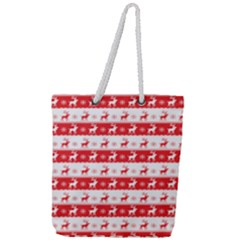 Knitted Red White Reindeers Full Print Rope Handle Tote (large) by patternstudio