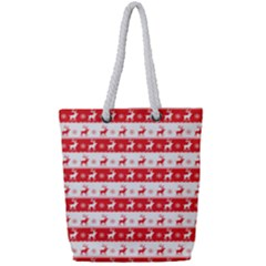 Knitted Red White Reindeers Full Print Rope Handle Bag (small) by patternstudio