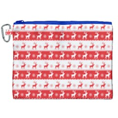 Knitted Red White Reindeers Canvas Cosmetic Bag (xxl) by patternstudio