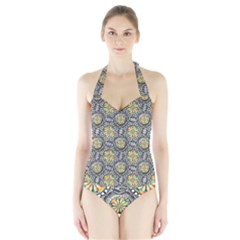 Beveled Geometric Pattern Halter Swimsuit by linceazul