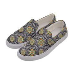Beveled Geometric Pattern Women s Canvas Slip Ons by linceazul