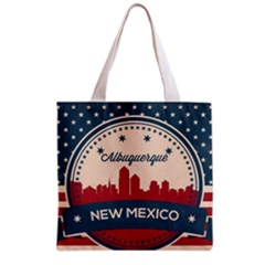 Retro  Albuquerque New Mexico Skyline Grocery Tote Bag by allthingseveryday