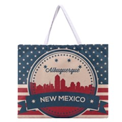 Retro  Albuquerque New Mexico Skyline Zipper Large Tote Bag by allthingseveryday