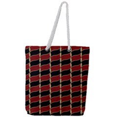 Leaves Red Black Full Print Rope Handle Tote (large) by Cveti
