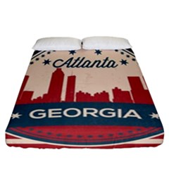 Retro Atlanta Georgia Skyline Fitted Sheet (california King Size) by allthingseveryday