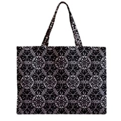 Crystals Pattern Black White Zipper Mini Tote Bag by Cveti