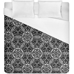 Crystals Pattern Black White Duvet Cover (king Size) by Cveti