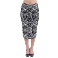 Crystals Pattern Black White Midi Pencil Skirt by Cveti