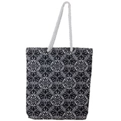 Crystals Pattern Black White Full Print Rope Handle Tote (large) by Cveti
