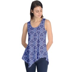 Crystals Pattern Blue Sleeveless Tunic by Cveti