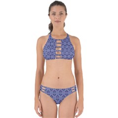 Crystals Pattern Blue Perfectly Cut Out Bikini Set by Cveti
