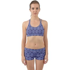 Crystals Pattern Blue Back Web Sports Bra Set