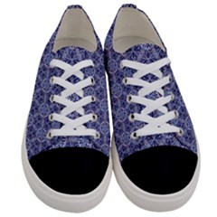 Crystals Pattern Blue Women s Low Top Canvas Sneakers
