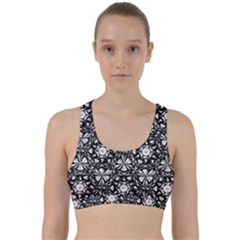 Star Crystal Black White Pattern Back Weave Sports Bra