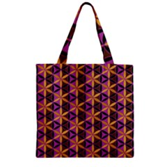 Flower Of Life Purple Gold Zipper Grocery Tote Bag