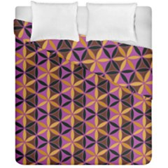Flower Of Life Purple Gold Duvet Cover Double Side (california King Size)
