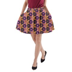 Flower Of Life Purple Gold A-line Pocket Skirt