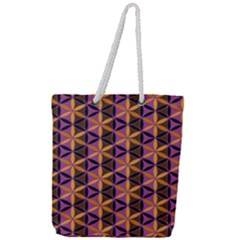 Flower Of Life Purple Gold Full Print Rope Handle Tote (large) by Cveti