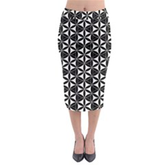 Flower Of Life Pattern Black White Midi Pencil Skirt by Cveti