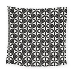 Flower Of Life Pattern Black White Square Tapestry (large) by Cveti