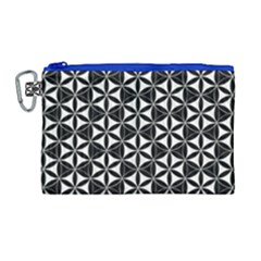 Flower Of Life Pattern Black White Canvas Cosmetic Bag (large) by Cveti