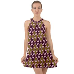 Rhomboids Pattern  Halter Tie Back Chiffon Dress by Cveti