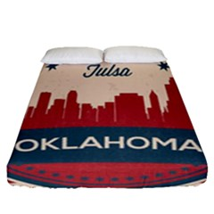 Tulsa Oklahoma Retro Skyline Fitted Sheet (queen Size) by allthingseveryday