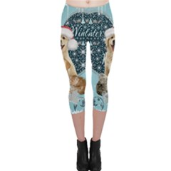 It s Winter And Christmas Time, Cute Kitten And Dogs Capri Leggings  by FantasyWorld7