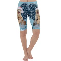 It s Winter And Christmas Time, Cute Kitten And Dogs Cropped Leggings  by FantasyWorld7