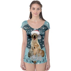 It s Winter And Christmas Time, Cute Kitten And Dogs Boyleg Leotard  by FantasyWorld7